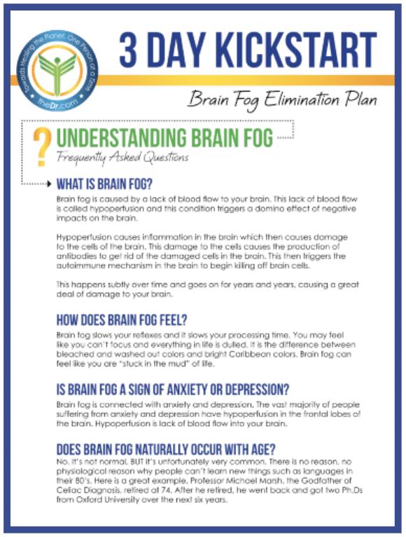 """3 Day Kickstart Brain Fog Elimination Plan"" eGuide"